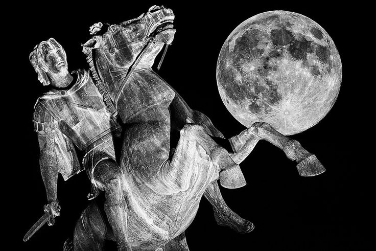 August Full Moon Alexander The Great Statue Thessaloniki Greece