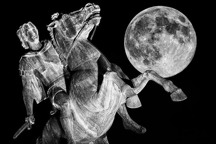 August Full Moon Alexander The Great Statue Thessaloniki Greece