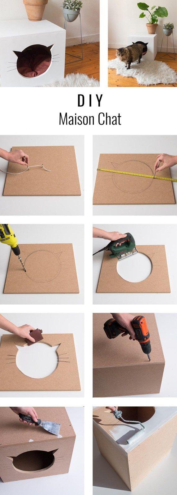 DIY maison chat à fabriquer – #à #chat #Diy #Fab…