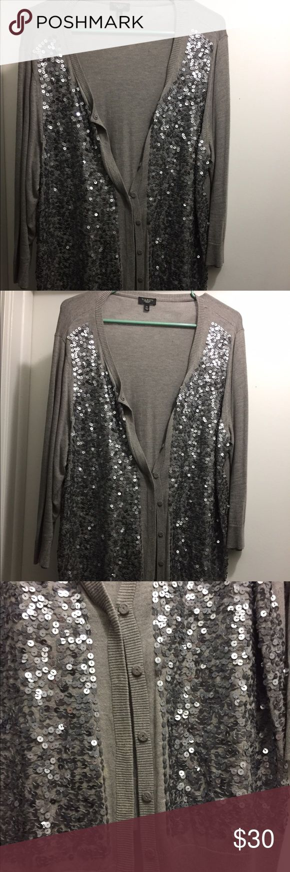 Talbots grey and silver sequin cardigan Sparkly grey and silver sequin cardigan Talbots Sweaters Cardigans