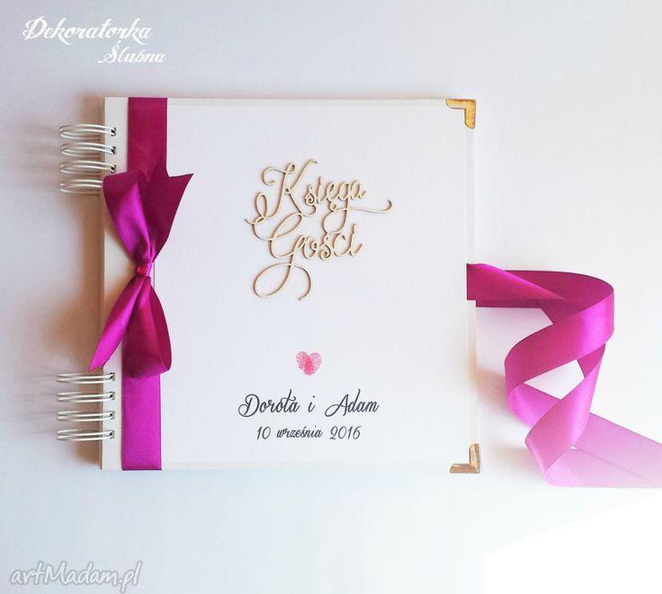 Księga gości milva ślubna wpisów album kciuki twardej oprawie wykończona dekoratorka slubna