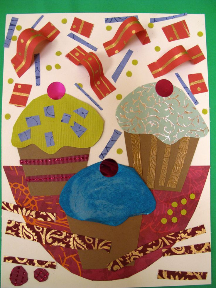 "Mixed Media Cupcake Collage - for 3-5 yrs.  Great pic demonstration with kids artwork on the site.  This lesson is combined with the book, ""If You Give A Cat A Cupcake.""  Also combined with contemporary artist Franco Mondini-Ruiz.   Could easily combine with Wayne Thiebaud lesson as well!  Go to:  http://laughpaintcreate.blogspot.com/2011/09/cupcake-collage.html"