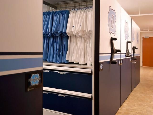 High Density Mobile Athletic Storage System At Unc