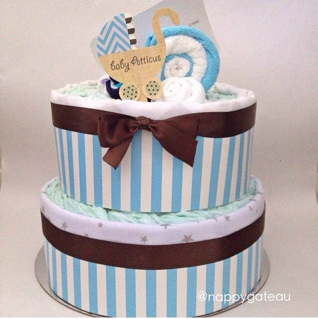 let's stroll baby {blue} - 2 tier nappy cake