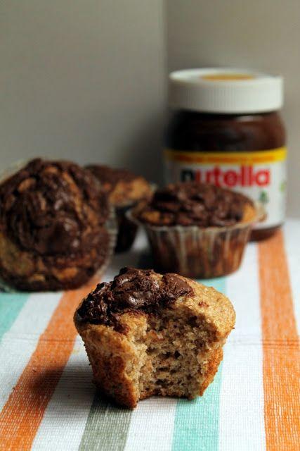 pasteles de platano y nutella en Magdalenas de Chocolate