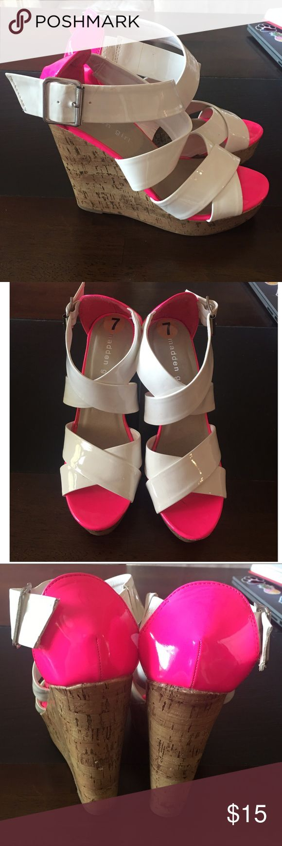 New hot pink & white wedges New hot pink & white wedges. In excellent condition. Never worn! Comes from a smoke free home. Madden Girl Shoes Wedges