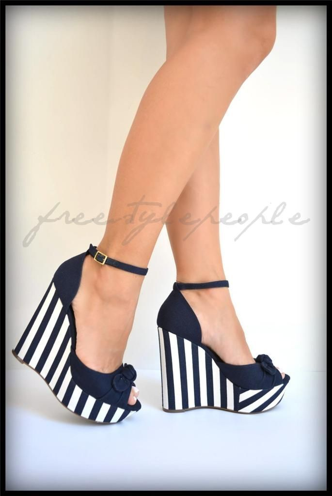 Jessica Simpson Wedge Shoes | Jessica Simpson Navy Blue White Corra Wedges Striped Platform Sandals ... #wedgesshoes