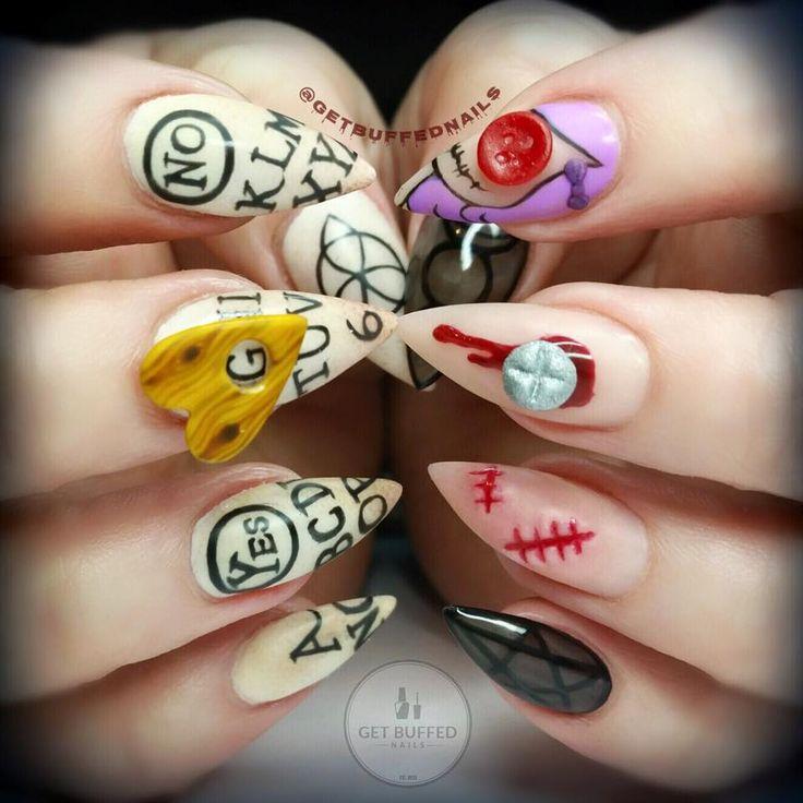 ouija board nail art buffed