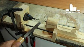 scrap wood city: How to convert your rotary tool into a DIY mini lathe for modelism