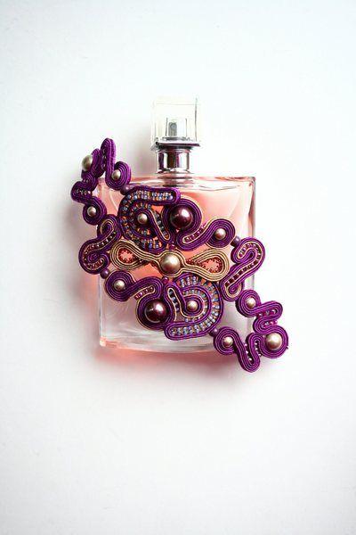 purple  / soutache bracelet de Agtesa Soutache