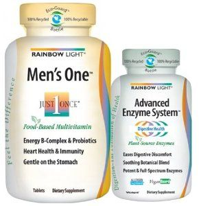 Rainbow Light Mens One and Advanced Enzyme System Dietary Supplement, 110 Count by Rainbow Light. $18.06. Mens One includes enzymes to promote digestive balance and immunity, but sometimes you need additional support advanced enzyme system is rich with plant source enzymes for relief from indigestion. Advanced enzyme system delivers plant source enzymes with multiple forms of protease, amylase, lipase and cellulose to break down all types of food allergen safeG...