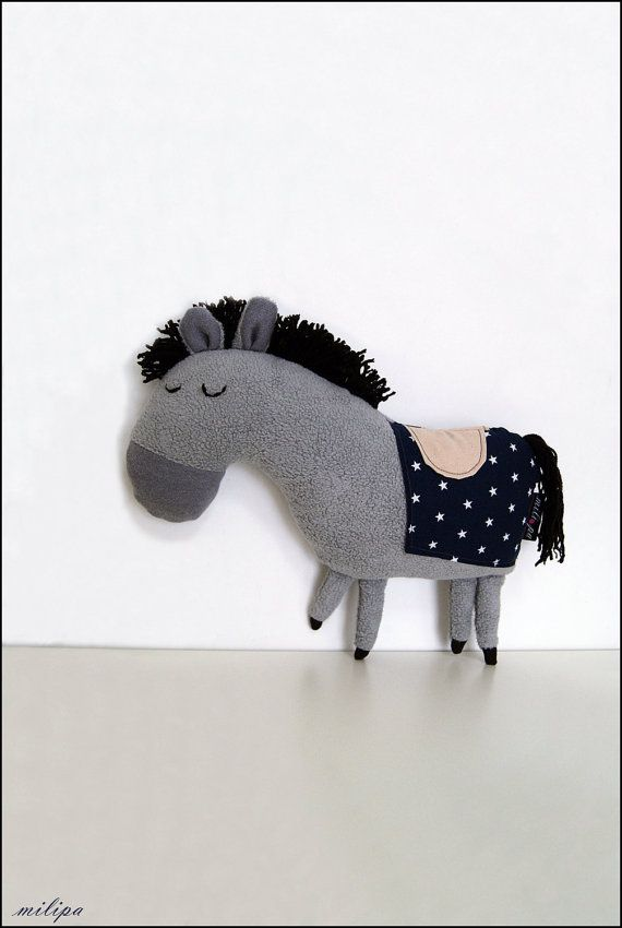 "THE ROYAL PONY stuffed toy stuffed pony stuffed horse Gift Ideas gray pony children toy nursery room decor 13"" 33 cm"