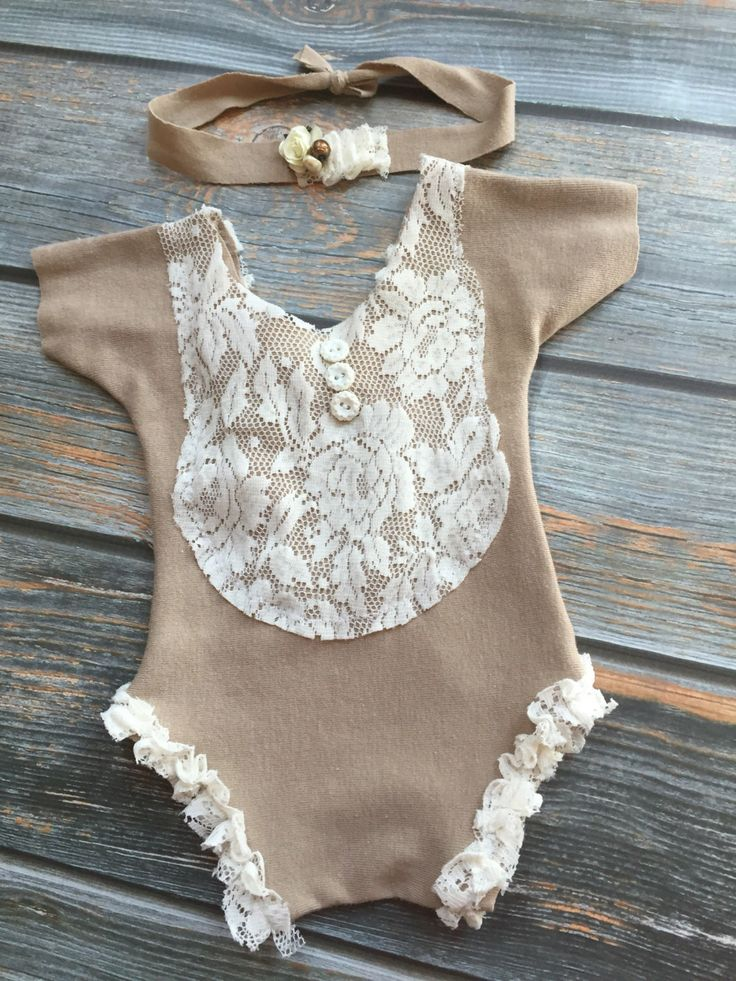 Newborn photography prop upcycled girls romper with matching headband lace tan