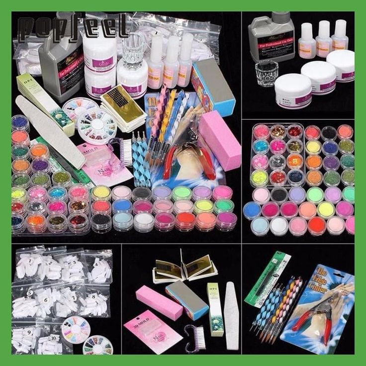 21 in 1 Professional Acrylic Glitter Color Powder French Nail Art Deco Tips Set Conjuntos de manicura 17nov14