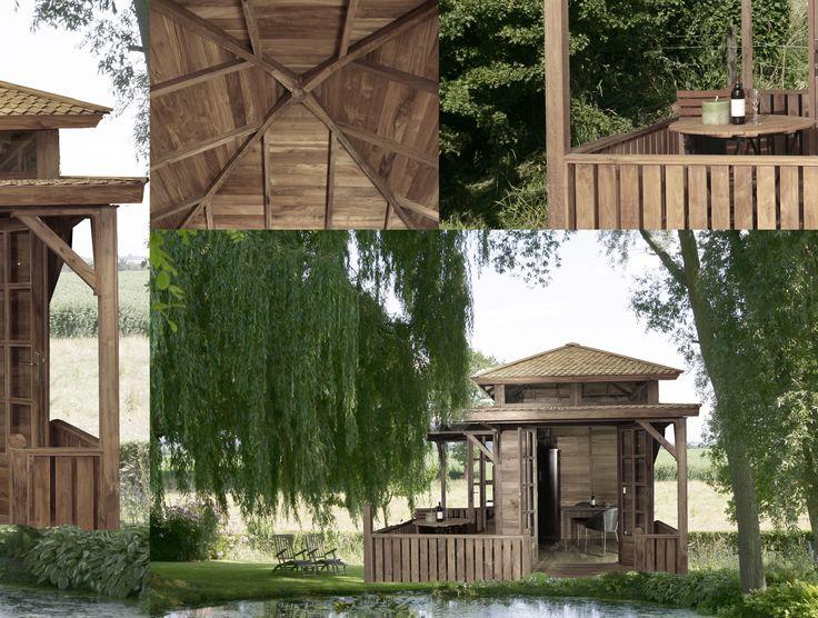 Tuinhuis Villa Toscane, gemaakt van massief gerecycled teakhout. Dakbedekking van teakhouten pannen. Aan 2 zijdes een royale veranda met openslaande deuren