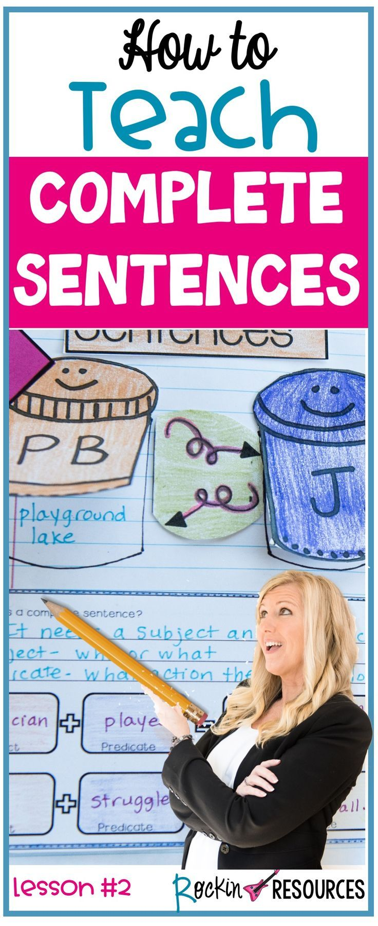 This lesson will focus on writing COMPLETE SENTENCES using subjects and predicates. Writing in complete sentences is the first basic writing lesson every student should learn. Sentence structure is important to help students write in journals, responses to reading, paragraphs, essays, book reports and so much more. It will lay the foundation for good writing practices throughout the year! These ideas are ideal for any writing curriculum and are a part of a series of mini lessons for writer's…