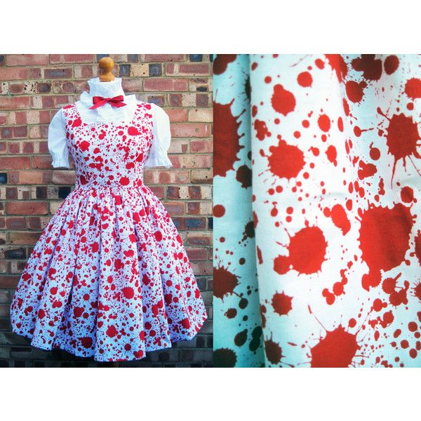 Blood Spatter Dress Guro Lolita Pinafore Carrie Prom Dexter Hannibal... (£100) via Polyvore featuring dresses, black, women's clothing, plus size dresses, plus size christmas dresses, short sleeve dress, plus size day dresses and layered dress