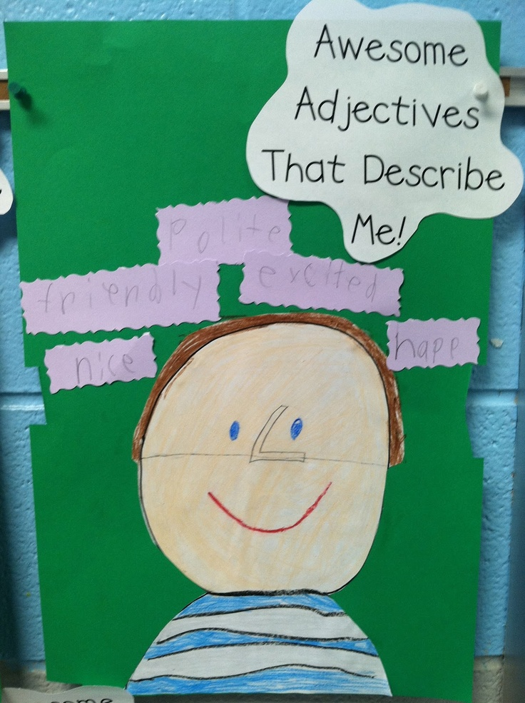 Life in First Grade: Awesome Adjectives Add this to their beginning of the school year self portrait!