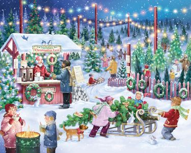 Christmas Tree Farm Jigsaw Puzzle | 1000 Piece Puzzles | Vermont Christmas Co. VT Holiday Gift Shop Artwork by Randy Wollenmann