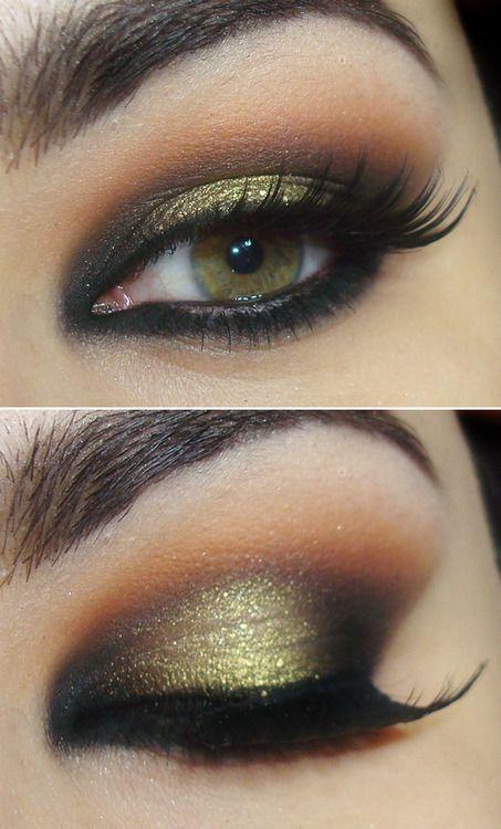 Gorgeous gold glitter eye makeup