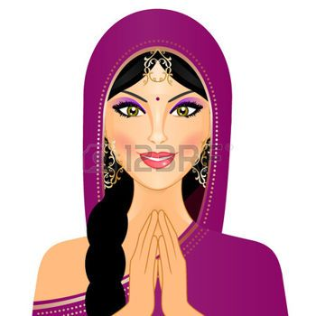 Vector illustration of Indian woman smiling photo