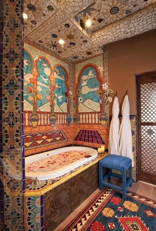 116 best bring the westward look style home images on for Santa fe style bathroom ideas