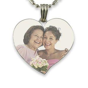 Rhodium Plated Luxury Heart Colour Photo Pendant