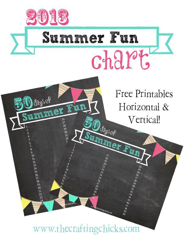 #Printable Summer Fun Chart from www.thecraftingchicks.com