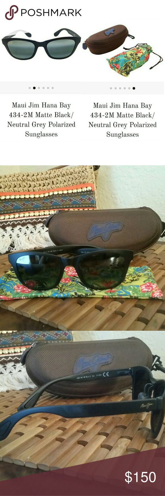 100% NEW & Authentic Maui Jim Polarized Sunglasses BRAND NEW, PERFECT CONDITION, NEVER WORN Moving and getting rid of extras.   100% Authentic Maui Jim Sunglasses Model Name : Hana Bay Color Code: 434-02 Frame Color: Matte Black Frame Material: Nylon Lens Color : Neutral Grey Lens Material: Plastic Polarized : Yes Protection: 100% UV  INCLUDES  Maui Jim Sunglasses Maui Jim Case Maui Jim Cleaning Cloth Maui Jim Accessories Sunglasses