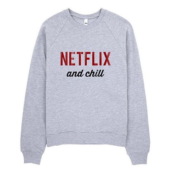Netflix and Chill Raglan sweater ($47) ❤ liked on Polyvore featuring tops, sweaters, crew neck sweaters, fleece sweater, fleece tops, raglan sweater and raglan sleeve top