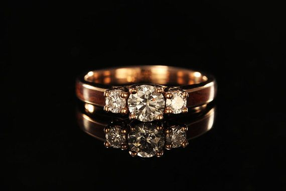 14K Rose Gold Wood Engagement Ring | This ring would go well with my pavé ring. It would aslo go with your wedding band, Michael.
