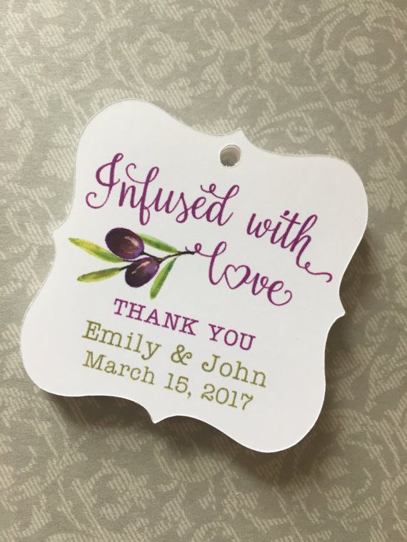 Olive Oil Favor Tags Infused With Love TagsOlive Oil