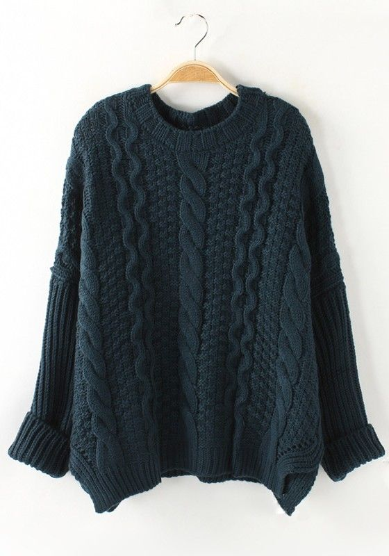 Dark Green Plaid Long Sleeve Thick Loose Knit Sweater