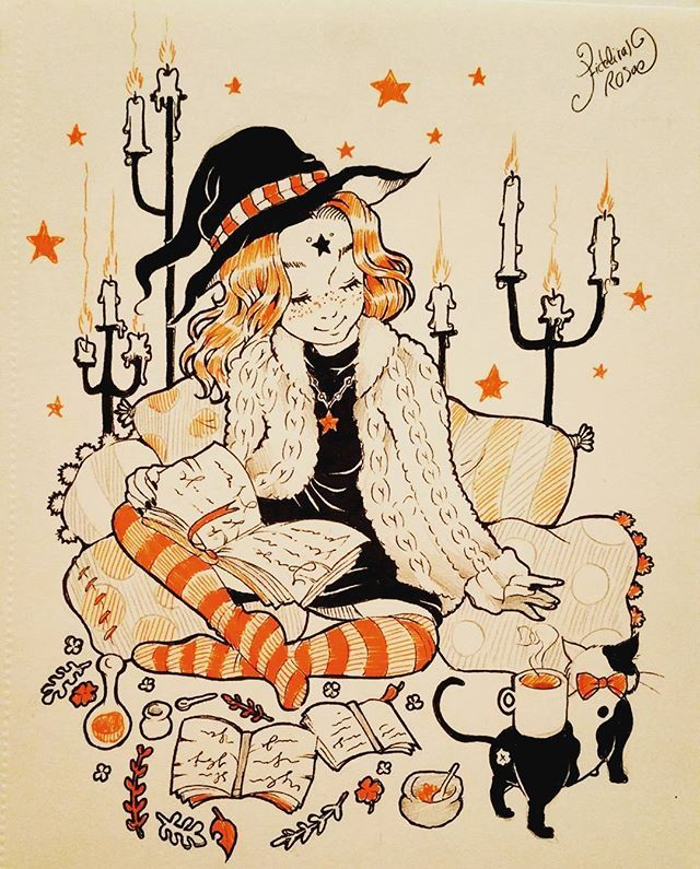 Hi guys ! Day 4 of the #witchyartchallenge ! Today theme was working place , I wanted to draw a cosy witch , on some cosy pillow,  sweet light and a warm cup of tea bring by her cute cat...♡ Hope you like it ! ♡  #art #dessin #draws #drawing #doodles #sketch #inktober #traditionnalart #witch #cosy #cute