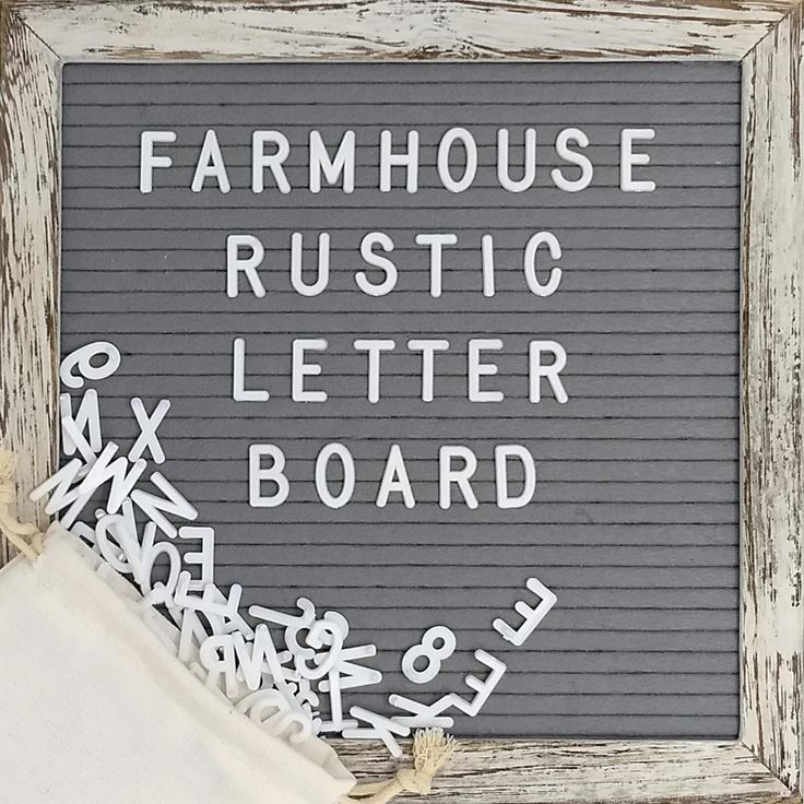 Felt Letter Board With 10x10 Inch Rustic Wood Frame Script Words Precut Letters Picture Hangers Farmhouse Wall Decor Shabby Chic Vintage Decor Grey Fel Rustic Letters Rustic Wood