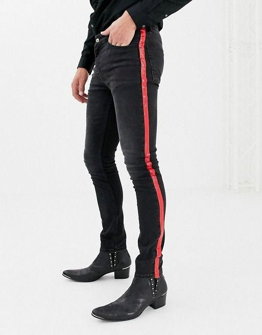 f6a89114277e9c ASOS DESIGN super skinny jeans in washed black with red vinyl side stripe  #mensjeansskinny