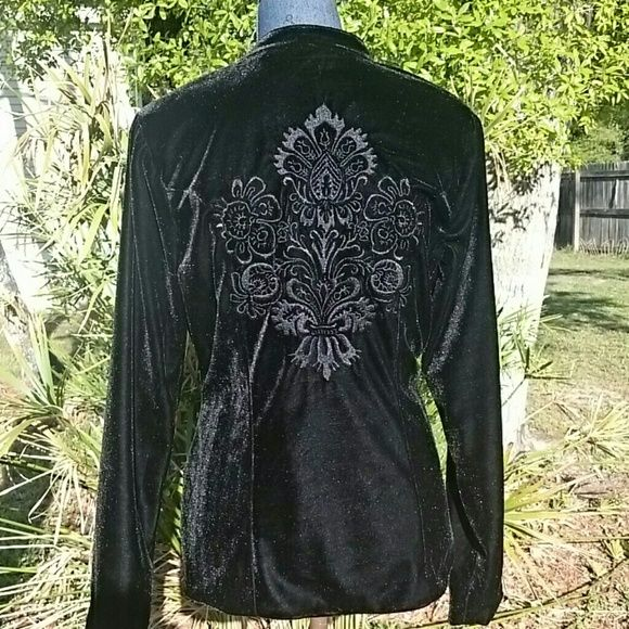 Black Velvet Embroidered Jacket Beautiful Black Velvet jacket, fully lined, has metal buttons down the front. Two front pockets. Beautiful embroidery on the back. Military style collar. Front darts for a nice fitted look. Lili & Q Jackets & Coats Blazers