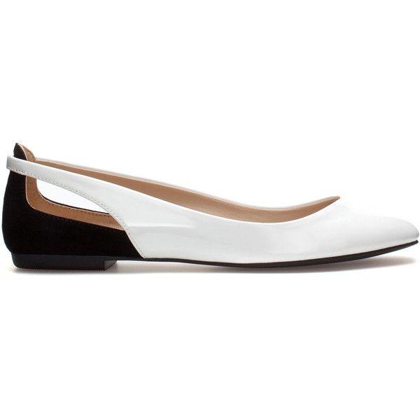 Zara Combined Ballerina Flats (13 AUD) ❤ liked on Polyvore featuring shoes, flats, zapatos, white, white ballet flats, white shoes, ballerina flats, ballerina flat shoes and ballerina shoes