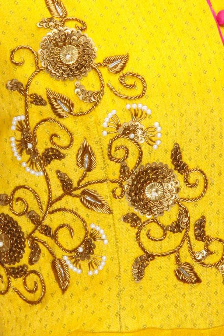 TISHA SAKSENA Mustard yellow hand embroidered anarkali set available only at Pernia's Pop-Up Shop.
