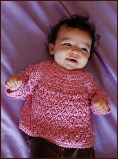 Panda Silk Baby Bubbles Smock - free baby knitting pattern from Crystal Palace Yarns