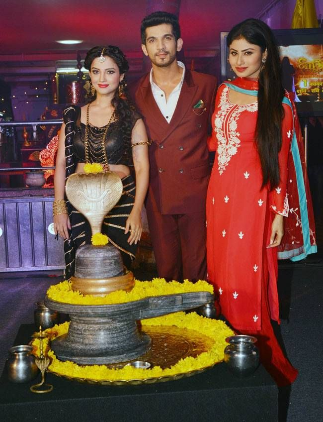 Mouni Roy, Adaa Khan, Arjun Bijlani and Sudha Chandran at the launch party of Naagin. #Bollywood #Fashion #Style #Beauty #Hot #Desi