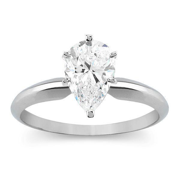 Details About 1 0 Ct Pear Cut Solitaire Engagement Wedding