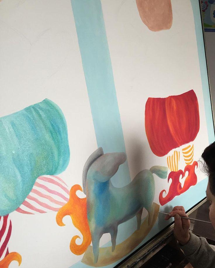Work in progress on a new  #painting  by #Yelena - http://ift.tt/1XRnl39 .. #art #propertstyling #interiorstyling #decorative #interiodesign #bondi #sydney #melbourne #arte #girls #artsy #workinprogress #modernart #gallery #canvas  #instaart #instagood #follow4follow