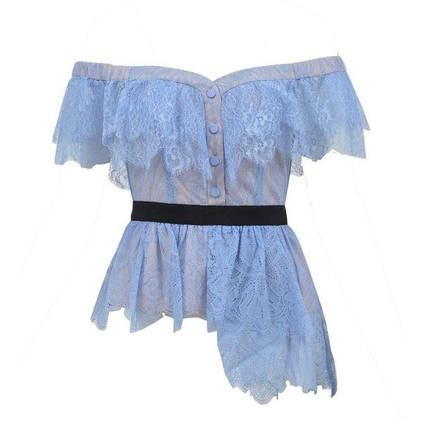 Baby Blue Lace Top ($240) ❤ liked on Polyvore featuring tops, baby blue, lace off the shoulder top, flutter-sleeve top, ruffle top, blue lace top and off-shoulder tops