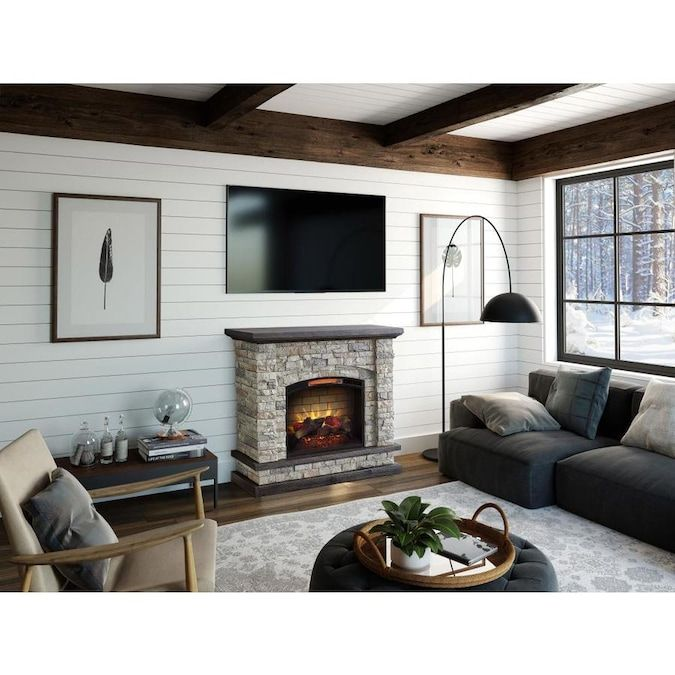 Allen Roth 43 5 In W Faux Stone Infrared Quartz Electric Fireplace Lowes Com Best Electric Fireplace Electric Fireplace Faux Stone Electric Fireplace
