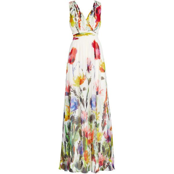 Rental Badgley Mischka Painted Petals Maxi Dress ($150) ❤ liked on Polyvore featuring dresses, gowns, long dresses, vestidos, print, chiffon maxi dress, floral print gown, white dress and long white dress