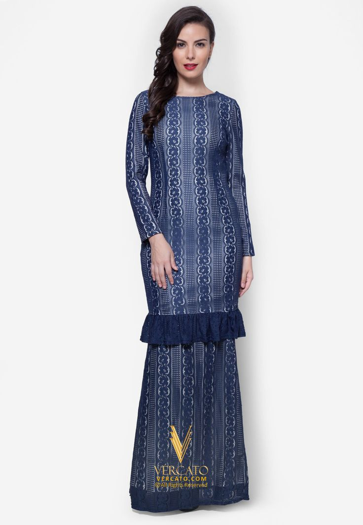 Baju Kurung Lace - Vercato Alyssa in Blue. Buy baju kurung moden lace with ruffled hem. SHOP NOW: www.vercato.com