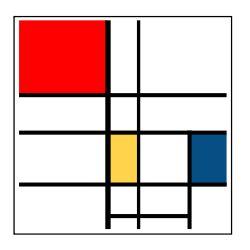 De composities met rood, blauw en geel allemaal samen zie ik als beeldverzameling. En wetenschappelijk omdat ze iets aantonen over compositie.