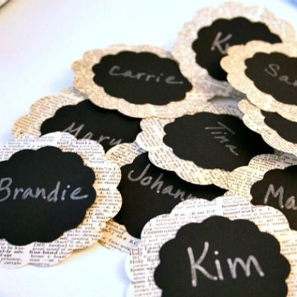 DIY Name Tags - I would instead use them to label the baskets I have in my office.