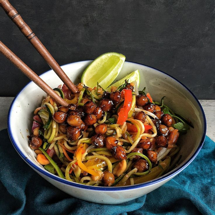 Zoodle Pad Thai with Tamarind Roasted Chickpeas